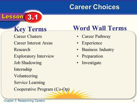 1 Chapter 3 Researching Careers Career Choices Key Terms Career Clusters Career Interest Areas Research Exploratory Interview Job Shadowing Internship.