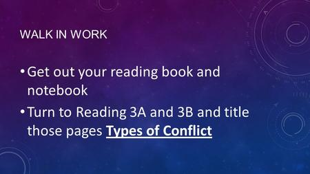 WALK IN WORK Get out your reading book and notebook Turn to Reading 3A and 3B and title those pages Types of Conflict.