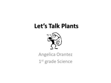Let's Talk Plants Angelica Orantez 1 st grade Science.