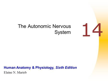 Human Anatomy & Physiology, Sixth Edition Elaine N. Marieb 14 The Autonomic Nervous System.