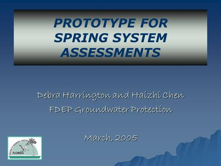 Debra Harrington and Haizhi Chen FDEP Groundwater Protection March, 2005 PROTOTYPE FOR SPRING SYSTEM ASSESSMENTS.