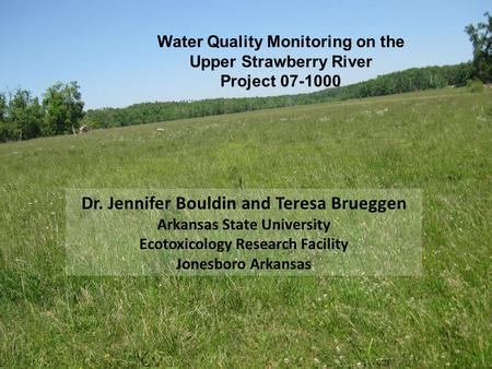Water Quality Monitoring on the Upper Strawberry River Project 07-1000 Dr. Jennifer Bouldin and Teresa Brueggen Arkansas State University Ecotoxicology.