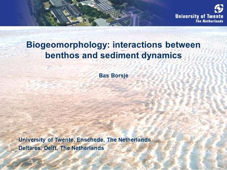 Biogeomorphology: interactions between benthos and sediment dynamics University of Twente, Enschede, The Netherlands Deltares, Delft, The Netherlands Bas.