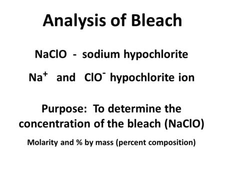 bleach analyzing experiment