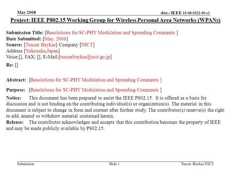 Doc.: IEEE 15-08-0322-00-r1 Submission May 2008 Tuncer Baykas,NICTSlide 1 Project: IEEE P802.15 Working Group for Wireless Personal Area Networks (WPANs)