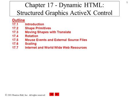  2001 Prentice Hall, Inc. All rights reserved. 1 Chapter 17 - Dynamic HTML: Structured Graphics ActiveX Control Outline 17.1 Introduction 17.2 Shape Primitives.