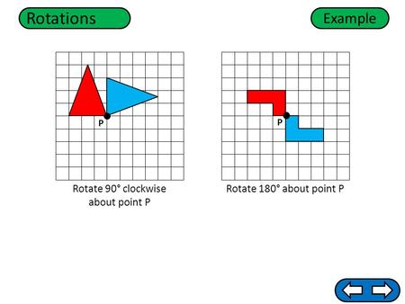 Rotations Rotate 180° about point PRotate 90° clockwise about point P Example P P.