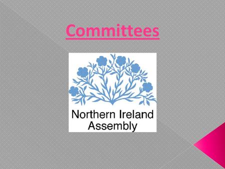 Committees. What is a committee? A group of around 11 MLA's who are given a particular focus in the assembly. What is a committees role? Legislate: Pass.