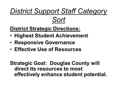 District Support Staff Category Sort District Strategic Directions: Highest Student Achievement Responsive Governance Effective Use of Resources Strategic.