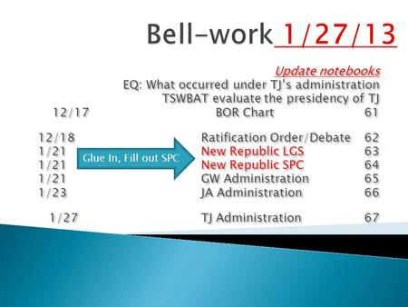 Update notebooks EQ: What occurred under TJ's administration TSWBAT evaluate the presidency of TJ 12/17BOR Chart 61 12/18Ratification Order/Debate62 1/21New.