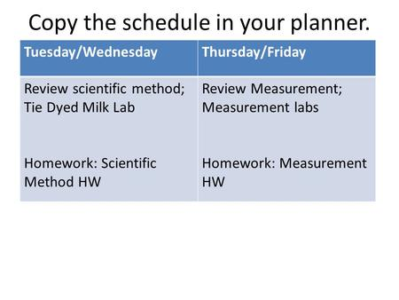 Copy the schedule in your planner. Tuesday/WednesdayThursday/Friday Review scientific method; Tie Dyed Milk Lab Homework: Scientific Method HW Review Measurement;