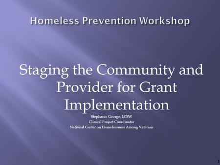 Staging the Community and Provider for Grant Implementation Stephanie George, LCSW Clinical Project Coordinator National Center on Homelessness Among Veterans.