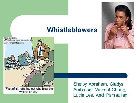 Whistleblowers Shelby Abraham, Gladys Ambrosio, Vincent Chung, Lucia Lee, Andi Parsaulian.