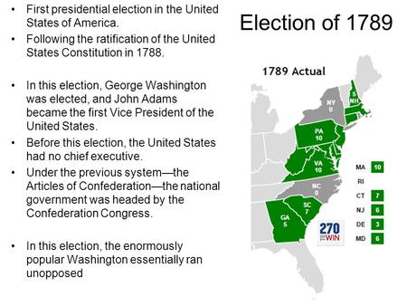 Election of 1789 First presidential election in the United States of America. Following the ratification of the United States Constitution in 1788. In.