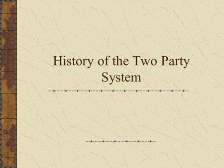 History of the Two Party System. Nation's First Parties Originally Formed around the issue of Constitutional ratification and carried into the 1800s Federalists(Pro-Ratification)-
