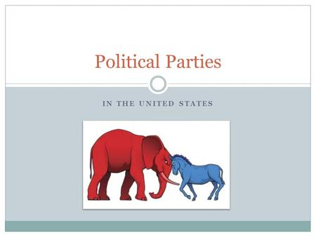IN THE UNITED STATES Political Parties. What is a political party? A political party is a group that seeks to win elections, operate the government, and.