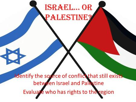 Israel… Or Palestine? Identify the source of conflict that still exists between Israel and Palestine Evaluate who has rights to the region.