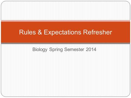 Biology Spring Semester 2014 Rules & Expectations Refresher.