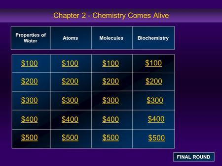Chapter 2 - Chemistry Comes Alive $100 $200 $300 $400 $500 $100 $200 $300 $400 $500 Properties of Water AtomsMolecules Biochemistry FINAL ROUND.