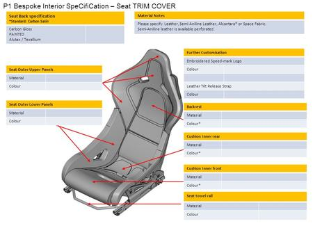 P1 Bespoke Interior SpeCifiCation – Seat TRIM COVER Seat Outer Upper Panels Material Colour Backrest Material Colour* Seat Back specification *Standard: