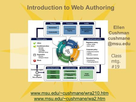 Introduction to Web Authoring Ellen Cushman   Class mtg. #19.