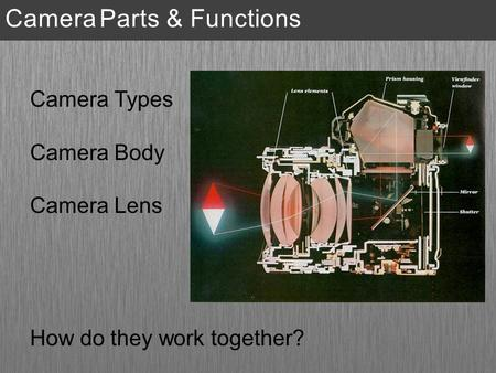 Camera Types Camera Body Camera Lens How do they work together? Camera Parts & Functions.