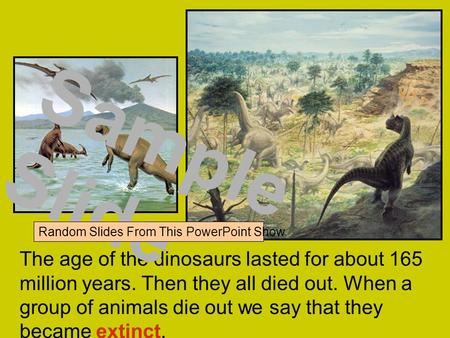 The age of the dinosaurs lasted for about 165 million years. Then they all died out. When a group of animals die out we say that they became extinct. Sample.