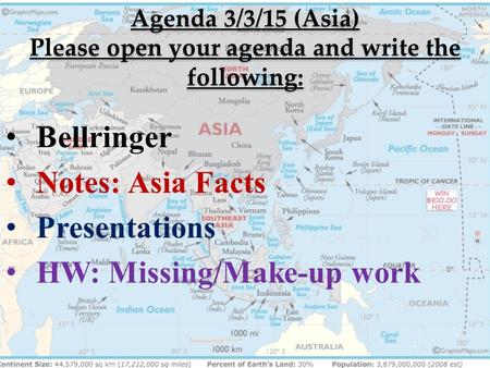 Agenda 3/3/15 (Asia) Please open your agenda and write the following: Bellringer Notes: Asia Facts Presentations HW: Missing/Make-up work.