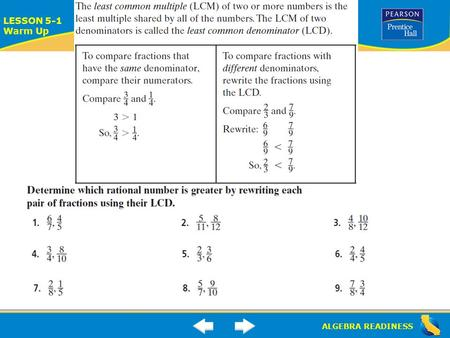 ALGEBRA READINESS LESSON 5-1 Warm Up. ALGEBRA READINESS LESSON 4-4 Warm Up.