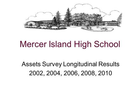 Mercer Island High School Assets Survey Longitudinal Results 2002, 2004, 2006, 2008, 2010.