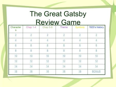 The Great Gatsby Review Game Character s Chap 1-4Chap 5-9ThemeSymbols1920's history 222222 444444 666666 888888 10 12 14 16 BONUS.