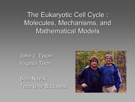 The Eukaryotic Cell Cycle : Molecules, Mechanisms, and Mathematical Models John J. Tyson Virginia Tech Bela Novak Tech Univ Budapest.