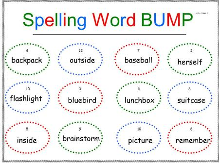 Backpack flashlight inside outside bluebird brainstorm baseball lunchbox picture herself suitcase remember 41272 103116 59108 Spelling Word BUMPSpelling.