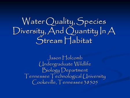 Water Quality, Species Diversity, And Quantity In A Stream Habitat Jason Holcomb Undergraduate Wildlife Biology Department Tennessee Technological University.