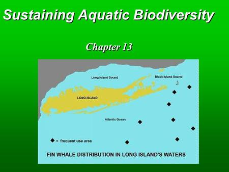 Sustaining Aquatic Biodiversity Chapter 13. Key Concepts  Economic and ecological importance  Effects of human activities  Protecting and sustaining.