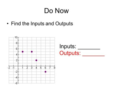Do Now Find the Inputs and Outputs Inputs: _______ Outputs: _______.