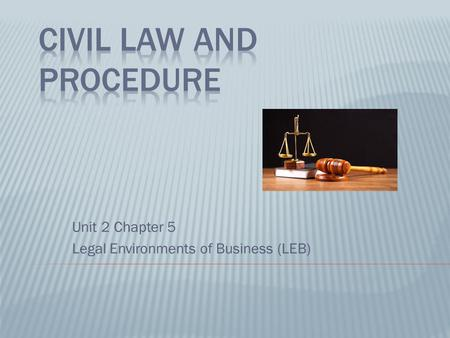 Unit 2 Chapter 5 Legal Environments of Business (LEB)