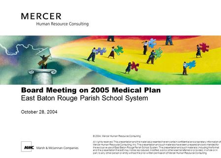 Board Meeting on 2005 Medical Plan East Baton Rouge Parish School System October 28, 2004 © 2004, Mercer Human Resource Consulting All rights reserved.