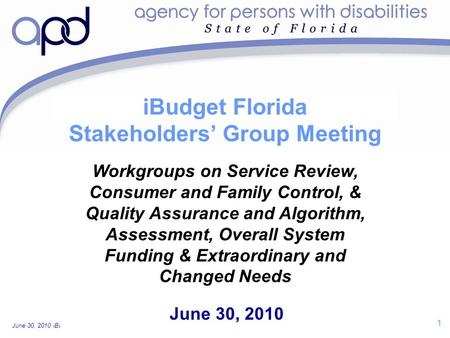 June 30, 2010 iBudget Florida Stakeholders' Group Workgroup Meeting—For Discussion Purposes Only 1 iBudget Florida Stakeholders' Group Meeting June 30,