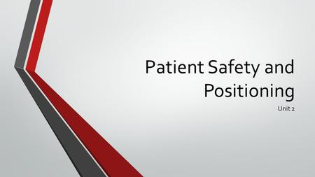 Patient Safety and Positioning Unit 2. Patient Safety p.236 Risk factors for injury: Impaired mobility due to injury, disease, or surgery Medications.