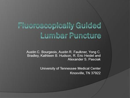 Fluoroscopically Guided Lumbar Puncture
