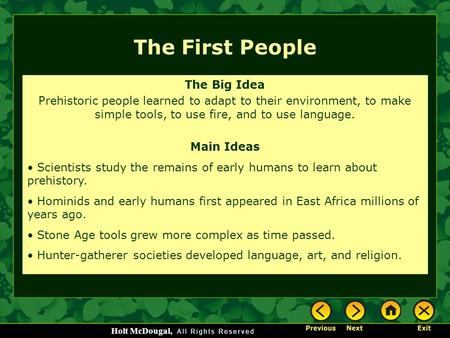 The First People The Big Idea