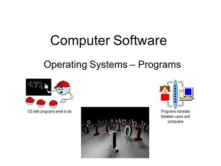 Computer Software Operating Systems – Programs. Computer Language - Review We learnt that computers are made up of millions of tiny switches that can.