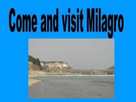 Description. Milagro is in the south of Navarra. You can take the motorway.