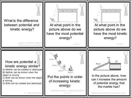 What is the difference between potential and kinetic energy? Potential = Stored energy Kinetic = energy in motion At what point in the picture above do.