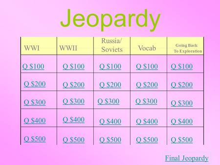 Jeopardy WWIWWII Russia/ Soviets Vocab Going Back To Exploration Q $100 Q $200 Q $300 Q $400 Q $500 Q $100 Q $200 Q $300 Q $400 Q $500 Final Jeopardy.