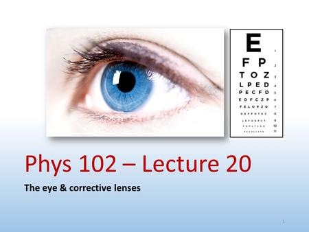 Phys 102 – Lecture 20 The eye & corrective lenses 1.
