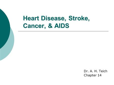 Heart Disease, Stroke, Cancer, & AIDS Dr. A. H. Teich Chapter 14.