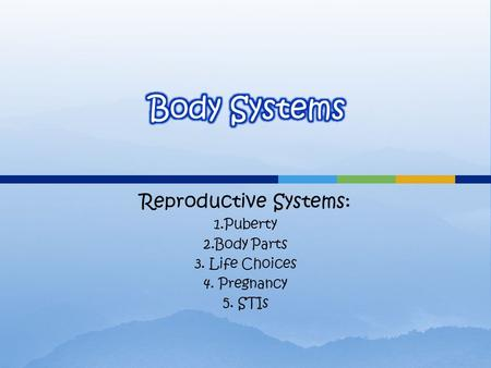 Reproductive Systems: 1.Puberty 2.Body Parts 3. Life Choices 4. Pregnancy 5. STIs.