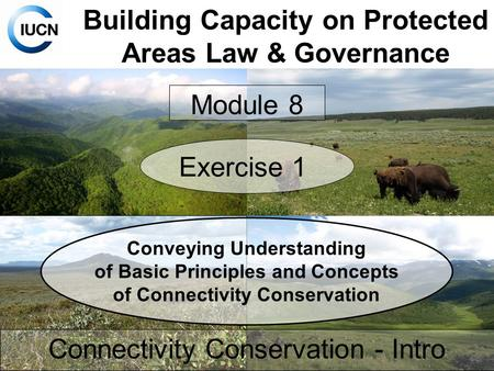 Building Capacity on Protected Areas Law & Governance Connectivity Conservation - Intro Module 8 Exercise 1 Conveying Understanding of Basic Principles.